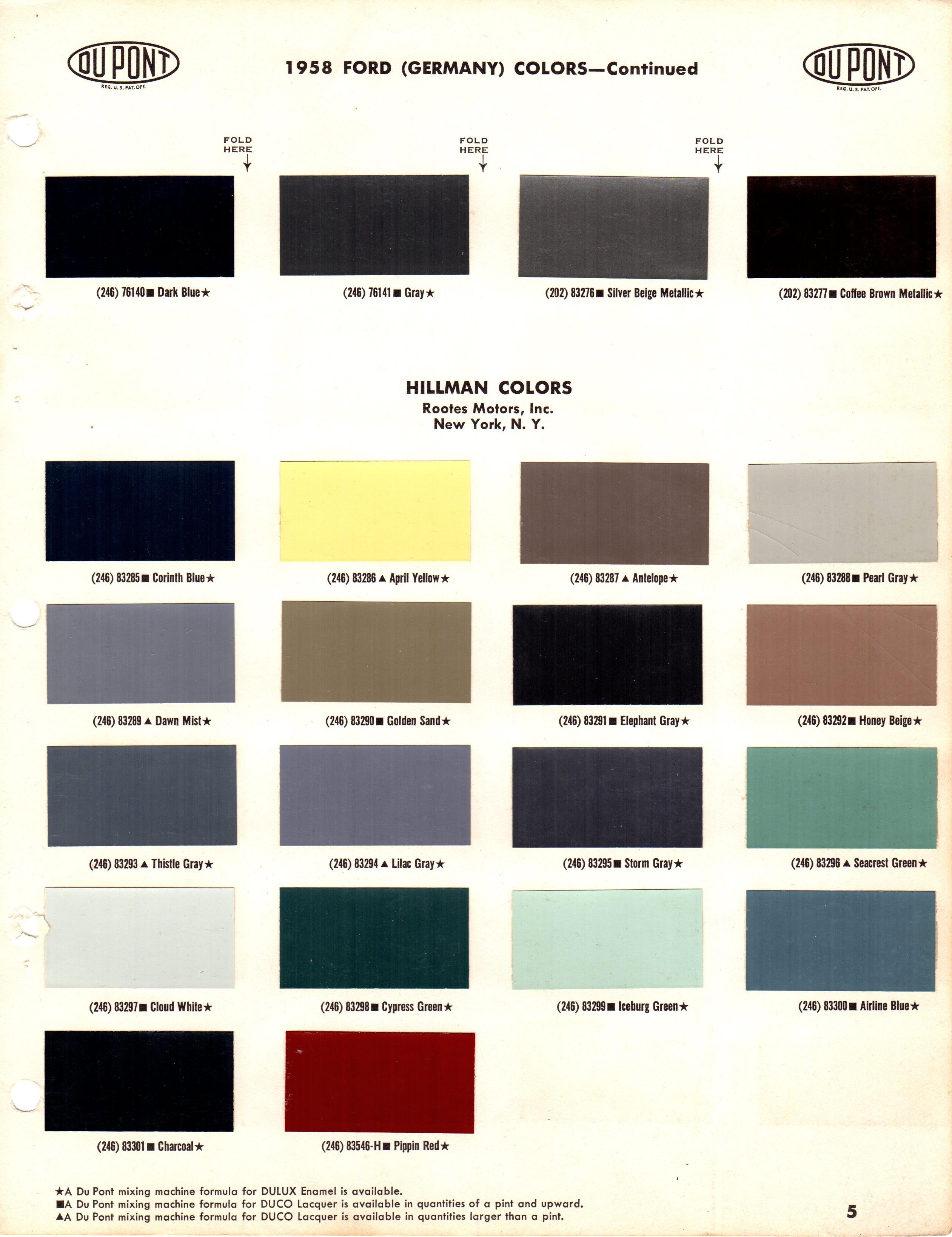 Hillman 1958 Paint Colour Chart